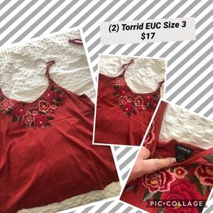 Torrid Embroidered Linen Tank